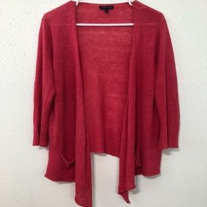 Eileen Fisher Coral Linen Open Cardigan